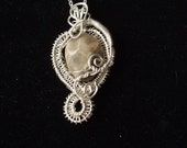 Wire Wrapped Silver Swirl Petoskey Stone Pendant