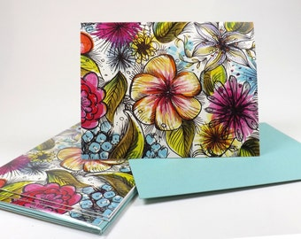 FLORAL Blank Notes Greeting Card