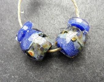 CrazyCatGlass Lampwork Boro Glass Beads Handmade Stormy Stones