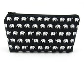 Cosmetic Bag - Makeup Bag - Zip Pouch - Pencil Case - Zipper Bag - Baby Elephants on Black