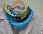 RESERVED Blue Scarf, Vintage Scarf, Square Scarf, Pattern Scarf, 18 in Scarf, Blue and Yellow Scarf, Rayon Scarf