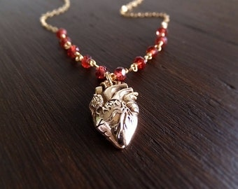Anatomical Heart Jewelry Necklace - Gold Anatomy Charm - Red - Garnet Gemstone - January Birthstone - 16K Gold-Filled Chain - Gift for Her