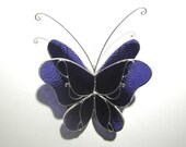 Amethyst Wings - 3D Stained Glass Butterfly Twirl -  Medium Purple Home and Garden Decoration Hanging Suncatcher Yard Art (READY TO SHIP)
