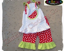 Girl Watermelon Outfit Set Capri Custom Boutique Clothing Pageant Summer Short Birthday Pant Set 3 6 9 12 18 24 month size 2t 3t 4t 5t 6 7 8