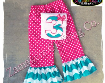 Custom Boutique Clothing Girl Birthday Pant Tee Outfit Set T-shirt Knit Toddler Baby 1st Size 3 6 9 12 18 24 Month 2T 2 3T 4t 4 5 7 8 t