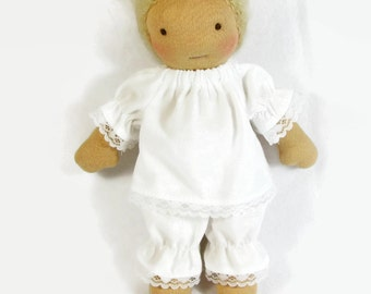 Fits 8 to 10 inch slim Waldorf doll pajamas, white cotton top and bloomers, waldorf doll clothes, handmade