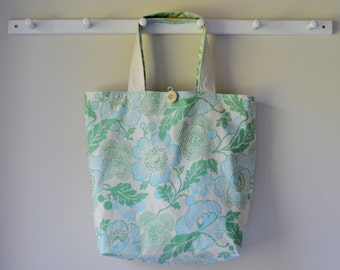 Roll Up Market Bag - Blue Poppies