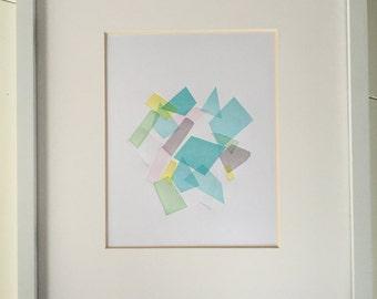 Handmade Original Seaglass 8 x 10 Letterpress Art Print Wedding Birthday Housewarming Gift