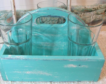 Wood Tote Caribbean Green Drink Caddy Succulent Planter BBQ Summer Party Shabby Chic