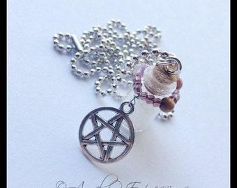 Supernatural Hunter Salt Vial Beaded Protection Pentagram Necklace with Tiger's Eye, Quartzite, Agate, and Amethyst