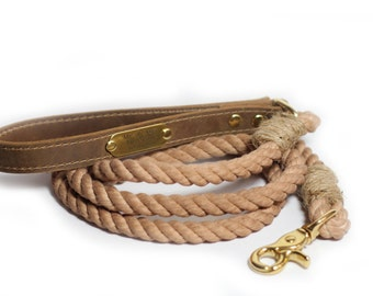Rope Leash, Brown Rope Dog Leash, Cotton Rope leash with leather handle