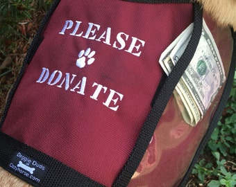 Size medium PLEASE DONATE Fundraising Dog Vest with large clear pockets for donations, Size Medium Dog Vest, burgundy dog vest, fund raising