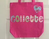 Girls Large Personalized Tote Bag With Embellishment - Library, Sleepover, or any Extracurricular Activity Bag - Pick Your Own Fabric Colors
