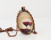 Glass Of Red Wine Necklace, Red Wine Necklace, Wine Lovers Pendant