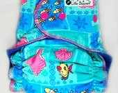 Cloth Diaper OS AI2 - Tropical Fish and Shells - One Size Wind Pro All in Two Cloth Nappy - Windpro Hybrid Diaper - Blue Aqua Ocean
