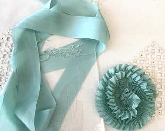 """Pleated Beautiful Robin's Egg Blue color 100% Silk Ribbon 1-1/4"""" wide 1 Meter long. #94, great for flowers and doll costuming"""