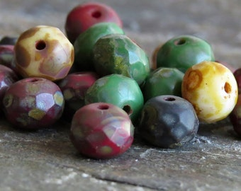 Opaque Picasso Mix Czech Glass Bead Faceted 7x5mm Rondelle : Full Strand Picasso Rondelle