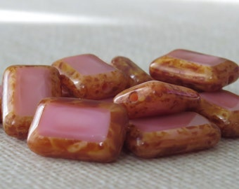 Czech Glass Bead 8x12mm Rectangle Coral Pink Picasso : 12 pc Pink Rectangle Bead