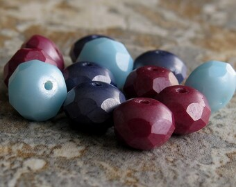 Indian Blue Corn Mix Czech Glass Picasso Bead Faceted 8x6mm Rondelle : 12 pc Blue Burgundy Donut