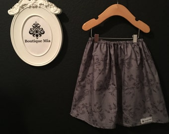 Will fit Size 4T to 6 yr - READY to MAIL - Children Skirt - Fall - Grey on Gray - by Boutique Mia and More