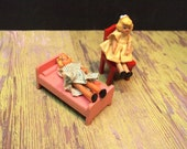 Free Shipping Vintage Small Doll s and wood furniture De-stash Chair Bed