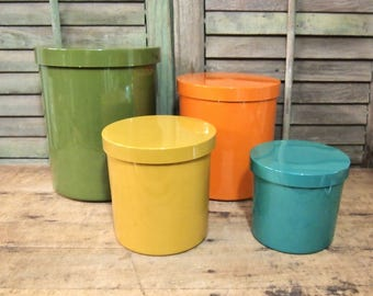 Canister Set Vintage Lacquer ware retro colors green yellow orange teal Nesting Storage