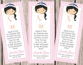 PRINTABLE First Holy Communion Bookmark / Choose Hair and Skin Color / Print Your Own Personalized Communion Bookmarks for Favors