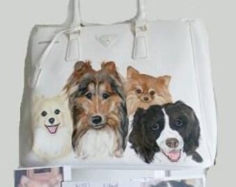 Custom Furbaby Hand Painted Handbag Purse Shoulder bag Dog Art by SugarspiceArt