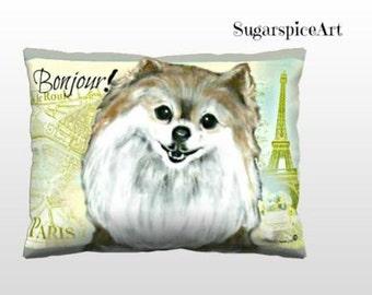 Pomeranian Paris Pillow Cushion Gift Home Decor Dog Art by SugarspiceArt