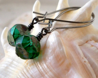 Glass Beaded Jewelry - Beaded Dangle Earrings - Drop Earrings - Glass Bead Earrings - Emerald Green Earrings - Beaded Earrings