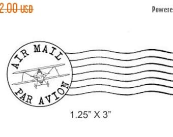 Clearance Airplane Post Mark Air Mail -  Par Avion Mail Art Rubber Stamp 295