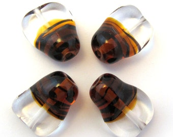 Lampwork beads. Lampwork beads set. Beetle beads, stripes, clear, amber, black (4) SRA