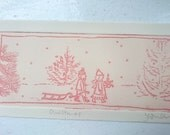 Christmas children etching red