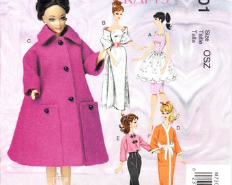 "McCalls 7301 and MP483 Barbie 11.5"" Fashion Doll Clothes Dress Apron Stole Coat Robe Jacket Sewing Pattern NEW"