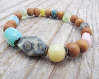 sandalwood bracelet, stretch bracelet, gemstone bracelet, boho bracelet, mixed gemstone bracelet, stacking bracelet, fragrant sandalwood