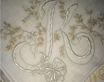 K Monogrammed White & Ivory Brides Vintage Madeira Handkerchief Gorgeous Wedding Hankie