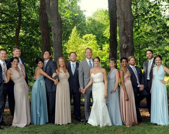 Mismatched Infinity Dresses- all colors- custom tailored size & length Bridesmaids Multiway Dresses Ombre lavender blush marsala rose mauve
