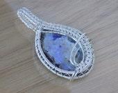 Silver Boulder Opal Pendant Cabochon Wire Wrapped in Silver Wire Wrapped Jewelry Handmade Opal Medallion Amulet Boho Pendant