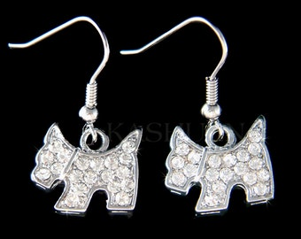 Swarovski Crystal Scottish Terrier Scottie Westie Puppy Dog Animal Lover Dangle Earrings Jewelry Jewellery Mother's Day Girls Christmas Gift