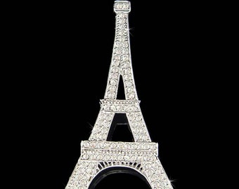 Swarovski Crystal Realistic Eiffel Tower Paris France Honeymoon Vacation Souvenir Pin Brooch Wife Girlfriend Jewelry Christmas Gift New Cute