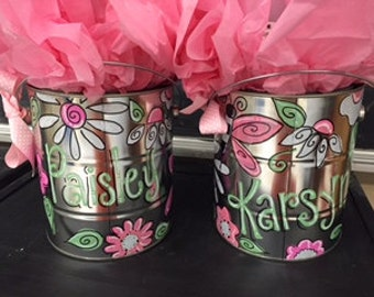 Adorable girl bucket perfect for shower or baby gift