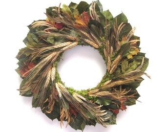 Green Rust Black preserved lemon leaf and wheat Harvest wreath