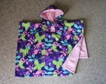Car seat Coat poncho hoodie for Toddlers Butterfly Flowers Girs MTO