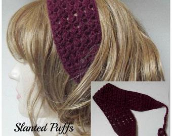 Slanted Puffs Summer Headband ~ Crochet Pattern