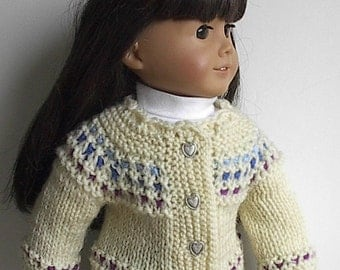 "18 Inch Doll Clothes Handknit Cardigan Sweater in Natural with Blues and Purple Handmade to fit American Girl and Other Similar 18"" Dolls"