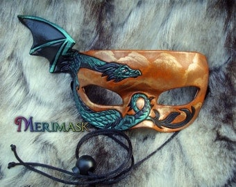 READY TO SHIP Green Dragon Mask... original handmade leather masquerade costume galaxy mardi gras halloween burning man starry night