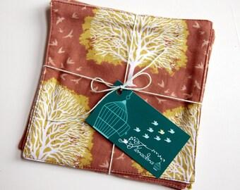 Woodland Trees Eco Cloth Cocktail Napkins / brown cloth napkins / brown table linens / woodland magic / hostess gift / woodland tree motif