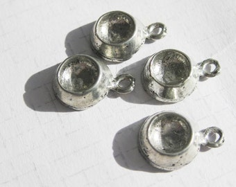 Dog Bowl pewter kitsch small charms x 4 canine lovers