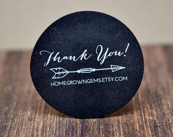 Customized Stickers - White Print on Chalkboard Black Labels Kraft Brown - Arrow Boho Tribel Feather Thank You Design