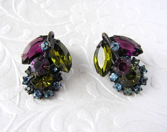 YUMMY 50s Fruit Salad Rhinestone Earrings Olivine Amethyst Blue Black Clip Vintage Costume Jewelry Formal Pageant Wedding Ballroom Boho Chic